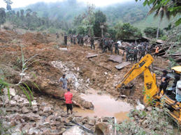 The disaster struck the hilly town of Haldummulla after days of heavy monsoon rains swept through the area, leaving many dead and hundreds missing.