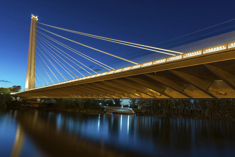 The modern suspension bridge over the River Guadalquivir was completed in 1992 in time for the World Expo, Seville