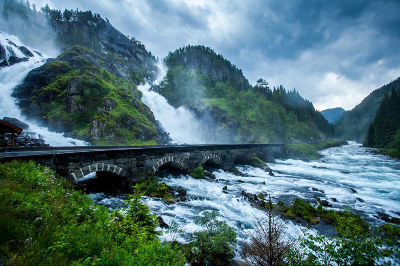 Låtefossen or Låtefoss is a waterfall located in the municipality of Odda in Hordaland county, Norway.