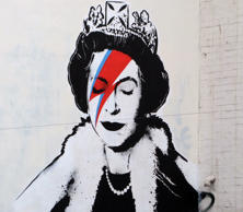 Banksy artwork of Queen Elizabeth II as Ziggy Stardust Banksy is believed to have stencilled his own tribute to the Queen in honour of the Diamond Jubilee Year, the painting which shows the monarch wearing a crown and jagged red stripe.