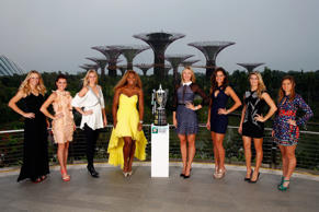 Caroline Wozniacki of Denmark, Agnieszka Radwanska of Poland, Petra Kvitova of Czech Republic, Serena Williams of USA, Maria Sharapova of Russia, Ana Ivanovic of Serbia, Eugenie Bouchard of Canada and Simona Halep of Romania pose for a photo at the Gardens by the Bay during previews for the WTA Finals at Singapore Sports Hub on October 18, 2014 in Singapore.