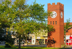 Famous village clock tower in Hudson, Ohio.
