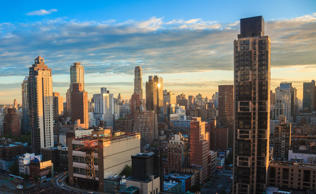 Manhattan New York Sunrise Skyline.