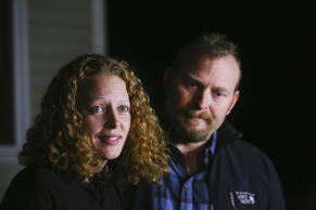 Kaci Hickox and boyfriend Ted Wilbur take questions from the press regarding the state of Maine's quarantine policy outside Wilbur's home in Fort Kent, ME, October 29, 2014.