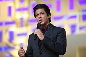 File: Indian actor Shahrukh Khan speaks during the tribute to Hindi cinema