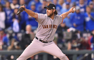 Madison Bumgarner of the San Francisco Giants pitches in the bottom of the fifth inning of game seven of the 2014 World Series against the Kansas City Royals on Wednesday, October 29, 2014 at Kauffman Stadium in Kansas City, Mo.