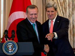 Secretary of State John Kerry shakes hands with Turkish Prime Minister Recep Tayyip Erdogan, Thursday, May 16, 2013, during a lunch.