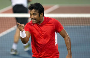 <p>File: Leander Paes gestures during the match against Springfield Lasers at the final of the Mylan World TeamTennis at Washington DC. </p>
