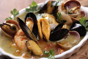 An easy recipe that combines fresh fish (of your choice), prawns and mussels with hot smoked paprika, a rich seafood stew is a glorious feast. It is best served with plenty of fresh bread.