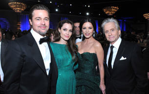 Brad Pitt, Angelina Jolie, Catherine Zeta-Jones, Michael Douglas during the 68th Annual Golden Globe Awards held at the Beverly Hilton Hotel on January 16, 2011.