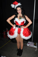 The singer came over all Christmassy while performing at the Y100 Jingle Ball.