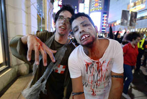 Revellers in fancy dress costumes celebrate Halloween in China.