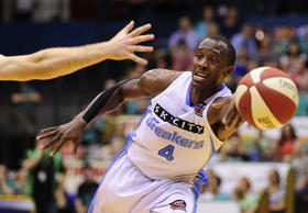 File picture of Cedric Jackson of the Breakers passing the ball during the round 14 NBL match between the Townsville Crocodiles and the New Zealand Breakers.