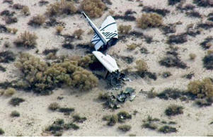 This image from video by KABC TV Los Angeles shows wreckage of what is believed to be SpaceShipTwo in Southern California's Mojave Desert.
