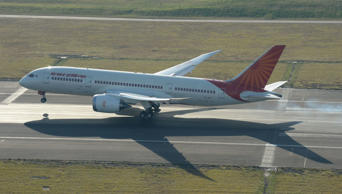 File: Air India Boeing 787 Dreamliner The new Air India direct service from Delhi was secured by the NSW government, through its tourism and major events agency, Destination NSW, in partnership with Sydney Airport and Tourism Australia. Airservices Australia provided a water salute as the aircraft approached her gate and dozens of aircraft workers watched as she made her final roll to the gate.