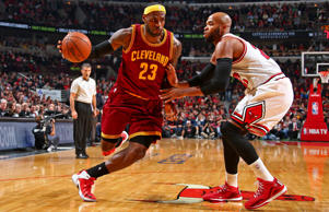 LeBron James #23 of the Cleveland Cavaliers handles the ball against the Chicago Bulls during a game at the United Center on October 31, 2014 in Chicago, Illinois.