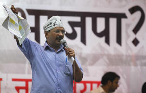 File: Aam Aadmi Party leader Arvind Kejriwal during a rally in New Delhi, India.