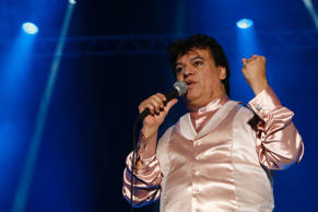 "Singer Juan Gabriel performs during the last concert of his ""Eternal"" tour at Saprissa Stadium in San José November 28, 2009."