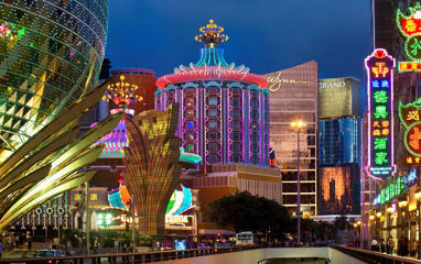 Macau Casinos at Dusk.