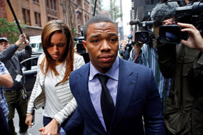 Ray Rice arrives with his wife Janay Palmer for an appeal hearing of his indefinite suspension from the NFL, Wednesday in New York.