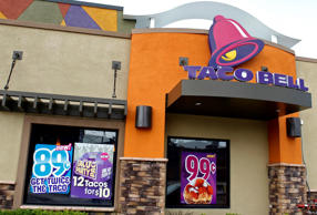 A Taco Bell restaurant is pictured in Burbank, California April 19, 2011. Taco Bell is part of Yum! Brands, the world's largest company of system restaurants, including Pizza Hut, Taco Bell, and KFC. Yum! Brands will release its earnings on April 20. Fred Prouser/Reuters
