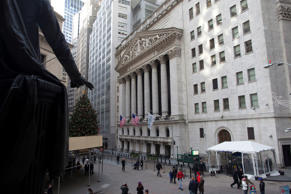 An exterior shot of the New York Stock Exchange in New York.
