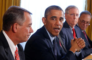 (From left) House Speaker John Boehner, President Barack Obama, incoming Senate Majority leader Mitch McConnell & Senator Charles Schumer at the White House on November 7, 2014.