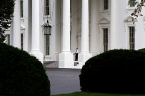 File photo of Secret Service member patrolling the North Portico of the White House in Washington.