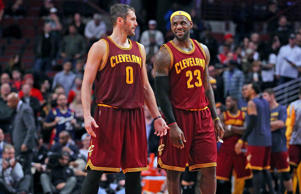 Cleveland Cavaliers forward Kevin Love (0) and forward LeBron James (23) during the second half against the Chicago Bulls at the United Center on Oct. 31. Cleveland won 114-108 in overtime.
