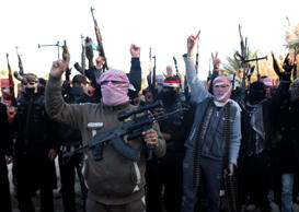 Masked Sunni gunmen chant slogans against the Iraqi Shiite-led government during a protest in Fallujah city, western Iraq, 07 January 2014.