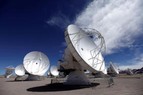 In this Sept. 27, 2012 photo, radio antennas face the sky as part of one of the worlds largest astronomy projects, the Atacama Large Millimeter/submillimeter Array (ALMA) in Chajnator in the Atacama desert in northern Chile.
