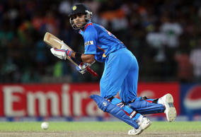Virat Kohli plays a shot during the Super Eight match of the World Twenty20 tournament between India and Pakistan at Colombo, Sri Lanka, 30 September 2012.