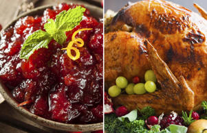 Cranberry sauce and a turkey dish