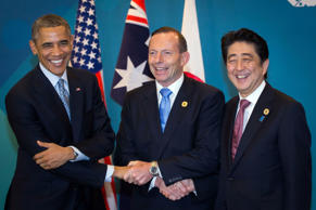 Handshakes. In normal circumstances, they're a perfectly natural greeting. However, put them in a politically charged environment, and they can almost immediately become embarrassingly uncomfortable. Just ask U.S. President Barack Obama, Australian Prime Minister Tony Abbot and Chinese premier Shinzō Abe (pictured, left to right), who engaged in an awkward three-way 'shake at the G20 Conference on Sunday, November 16.   We probably should have expected it, however – these guys have previous. Here, we round up the most awkward political handshakes.