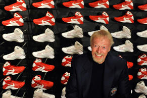 Nike founder Phil Knight waits to be interviewed a news conference at the Naismith Memorial Basketball Hall of Fame in Springfield, Mass., Thursday, Sept. 6, 2012.