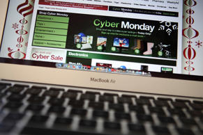 In this photo illustration, an ad seen on the Target website for a Cyber Monday ...
