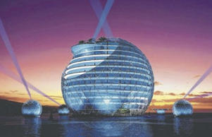 The Sea Pearl Hotel has been designed by Professor Jianping Zheng, who is famous for his cutting edge creations in China.