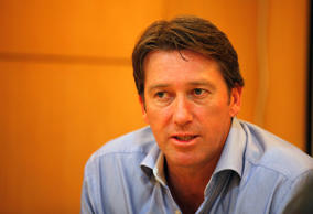 Former Australian cricket player Glenn McGrath during an interview on August 18, 2014 in New Delhi, India.