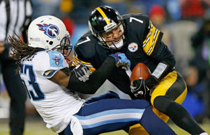 Quarterback  Ben Roethlisberger #7 of the Pittsburgh Steelers is sacked by Quentin Groves #53 of the Tennessee Titans in the second quarter at LP Field on November 17, 2014 in Nashville, Tennessee.