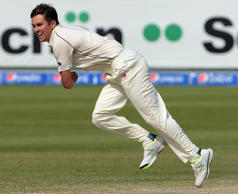 Trent Boult's (2-12) twin strikes left Pakistan reeling at 75-4.