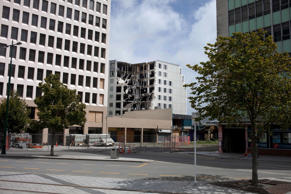 Quake damaged buildings inside the cordoned off red zone in the central business district on January 30, 2012 in Christchurch, New Zealand.