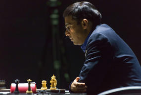 India's former World Champion Vishwanathan Anand thinks over his move as he plays against Norway's chess grandmaster Magnus Carlsen at the FIDE World Chess Championship Match in Sochi, Russia, Saturday, Nov. 8, 2014.