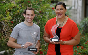 French pole vaulter Renaud Lavillenie and Kiwi shot putter Valerie Adams were declared the World Athletes of the Year by the International Association of Athletics Federations (IAAF).