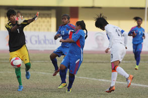 File: Indian player Ngangom Bala Devi (10) makes a heading to score a goal against Nepal during the final of 3rd South Asian Women Football Federation Championship in Islamabad, Pakistan, Friday, Nov. 21, 2014.