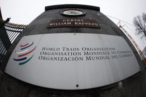 File: The World Trade Organization (WTO) logo is pictured at the entrance of the WTO headquarters in Geneva in this April 9, 2013 file photo.