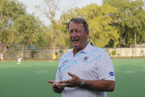 Terry Walsh, chief coach of the Indian Hockey team during a practice session before the Commonwealth games 2014, at Major Dhyanchand National Stadium on July 11, 2014 in New Delhi, India.