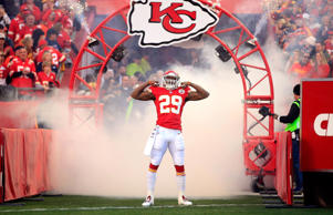Strong safety Eric Berry of the Kansas City Chiefs is introduced before the game against the Denver Broncos on Dec.r 1, 2013 in Kansas City.