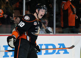 Anaheim Ducks right wing Corey Perry (10) celebrates after scoring a goal against the Dallas Stars during the second period in game two of the first round of the 2014 Stanley Cup Playoffs at Honda Center.