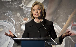 File: Hillary Rodham Clinton, former US Secretary of State, speaks during her keynote remarks at the Global Alliance for Clean Cookstoves summit in New York