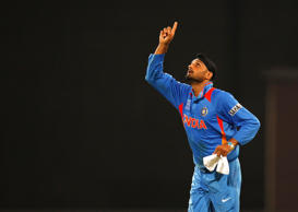 Indian bowler Harbhajan Singh celebrates after he took four wickets during the ICC T20 World Cup cricket match between India and England at R. Premadasa Stadium on September 23, 2012 in Colombo, Sri Lanka.